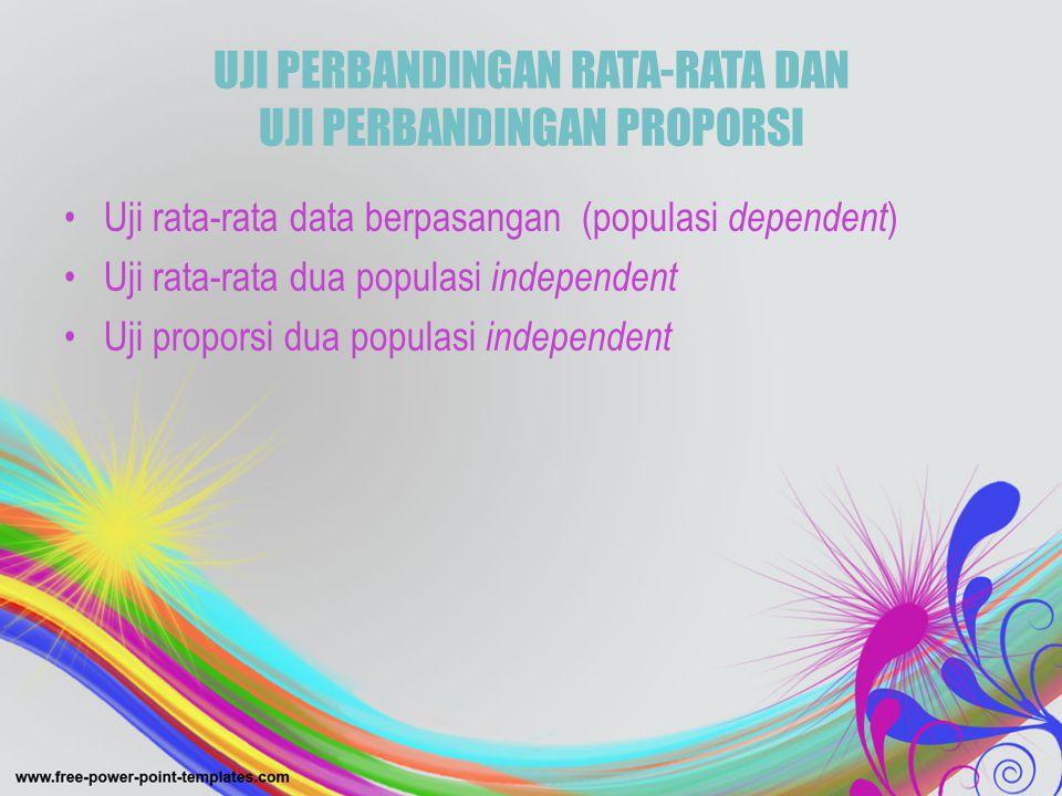 UJI PERBANDINGAN RATA-RATA DAN UJI PERBANDINGAN PROPORSI •Uji rata-rata data berpasangan (populasi dependent ) •Uji rata-rata dua populasi independent
