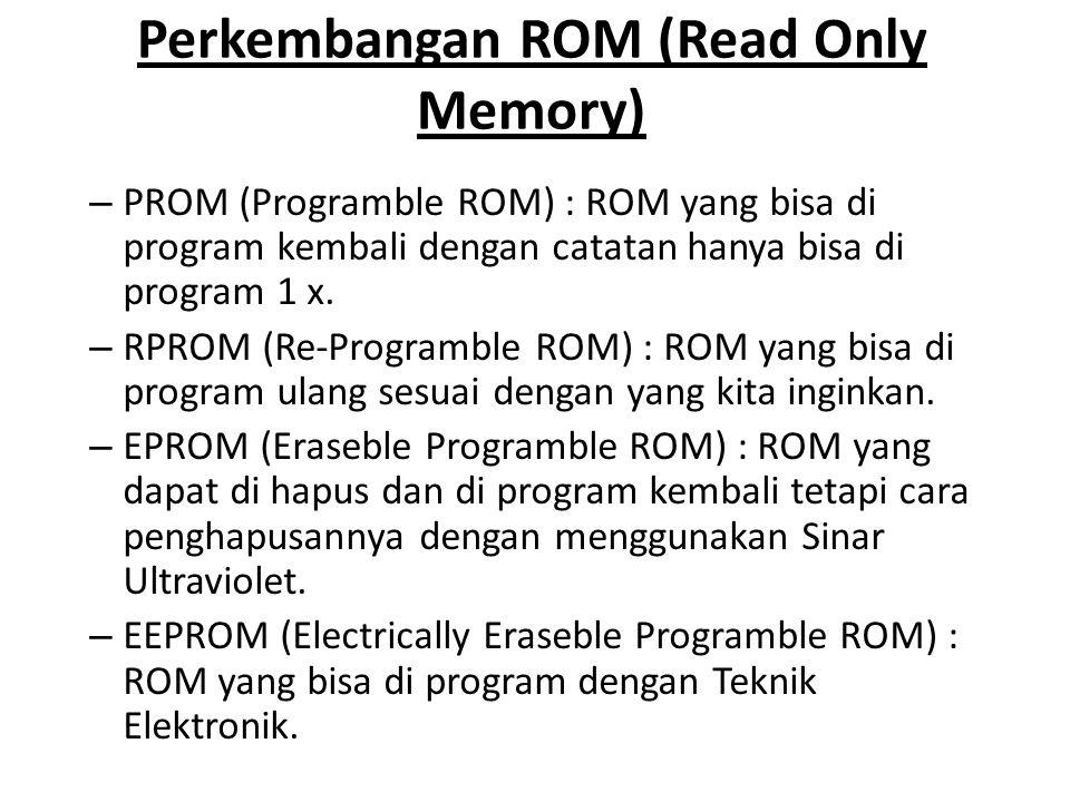 Perkembangan ROM (Read Only Memory) – PROM (Programble ROM) : ROM yang bisa di program kembali dengan catatan hanya bisa di program 1 x. – RPROM (Re-P