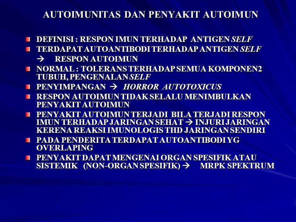AUTOIMUNITAS DAN PENYAKIT AUTOIMUN DEFINISI : RESPON IMUN TERHADAP ANTIGEN SELF TERDAPAT AUTOANTIBODI TERHADAP ANTIGEN SELF  RESPON AUTOIMUN NORMAL :