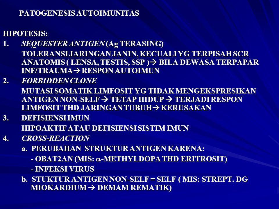 PATOGENESIS AUTOIMUNITAS HIPOTESIS: 1.SEQUESTER ANTIGEN (Ag TERASING) TOLERANSI JARINGAN JANIN, KECUALI YG TERPISAH SCR ANATOMIS ( LENSA, TESTIS, SSP