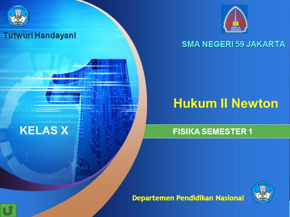 Departemen Pendidikan Nasional Hukum II Newton SMA NEGERI 59 JAKARTA FISIKA SEMESTER 1 KELAS X Tutwuri Handayani