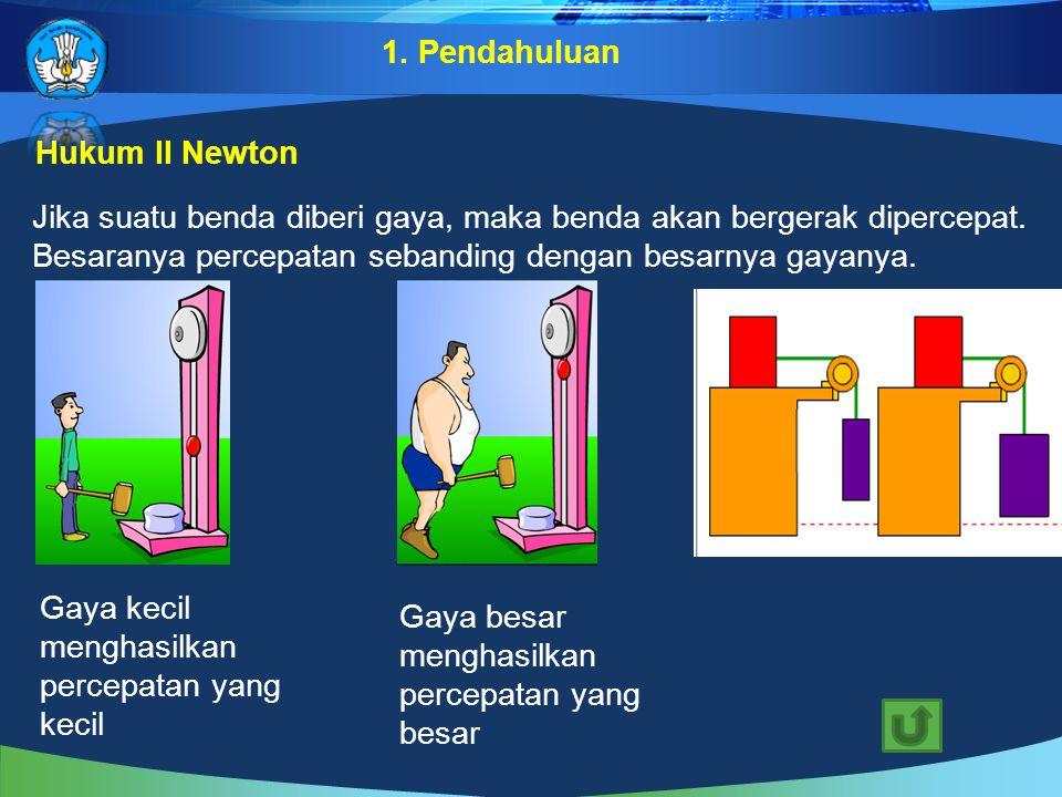Hukum II Newton Jika suatu benda diberi gaya, maka benda akan bergerak dipercepat. Besaranya percepatan sebanding dengan besarnya gayanya. Gaya besar