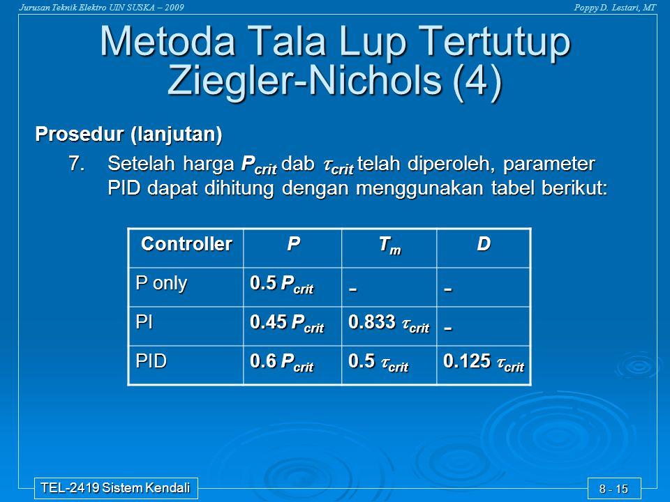 Jurusan Teknik Elektro UIN SUSKA – 2009Poppy D. Lestari, MT TEL-2419 Sistem Kendali 8 - 15 ControllerP TmTmTmTmD P only 0.5 P crit -- PI 0.45 P crit 0