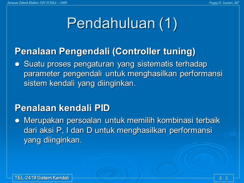 Jurusan Teknik Elektro UIN SUSKA – 2009Poppy D. Lestari, MT TEL-2419 Sistem Kendali 8 - 3 Penalaan Pengendali (Controller tuning)  Suatu proses penga