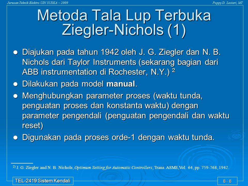 Jurusan Teknik Elektro UIN SUSKA – 2009Poppy D. Lestari, MT TEL-2419 Sistem Kendali 8 - 8 2) J. G. Ziegler and N. B. Nichols, Optimum Setting for Auto