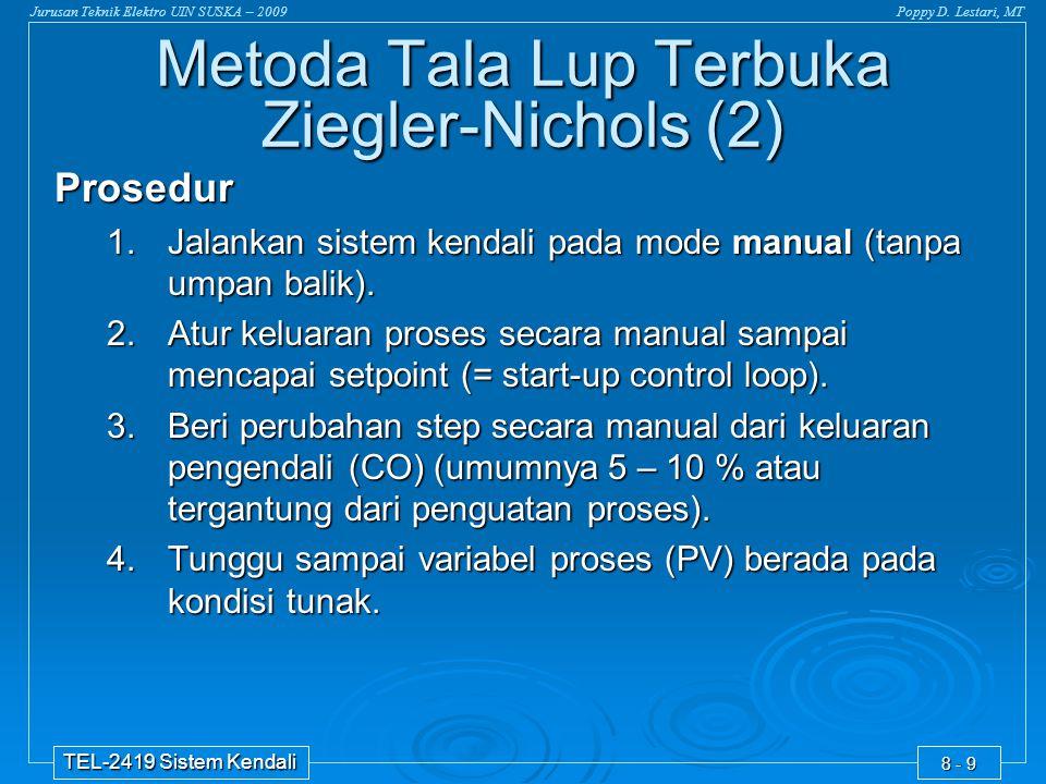 Jurusan Teknik Elektro UIN SUSKA – 2009Poppy D. Lestari, MT TEL-2419 Sistem Kendali 8 - 9 Prosedur 1.Jalankan sistem kendali pada mode manual (tanpa u