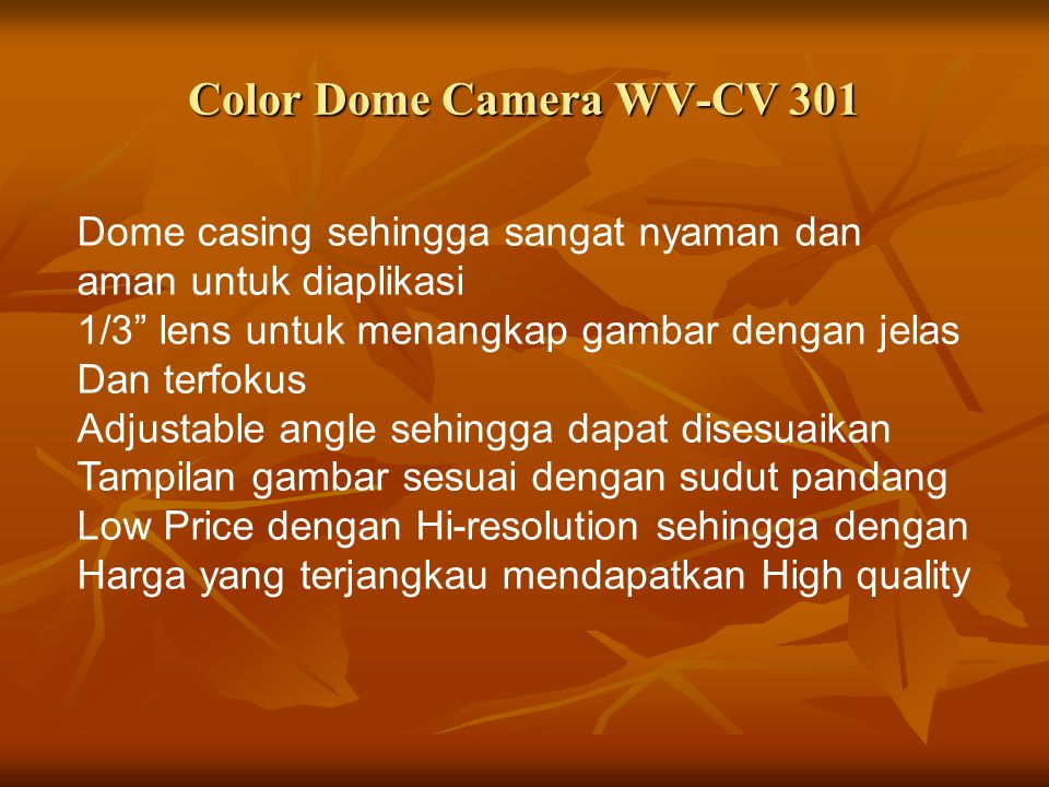 "Dome casing sehingga sangat nyaman dan aman untuk diaplikasi 1/3"" lens untuk menangkap gambar dengan jelas Dan terfokus Adjustable angle sehingga dapa"
