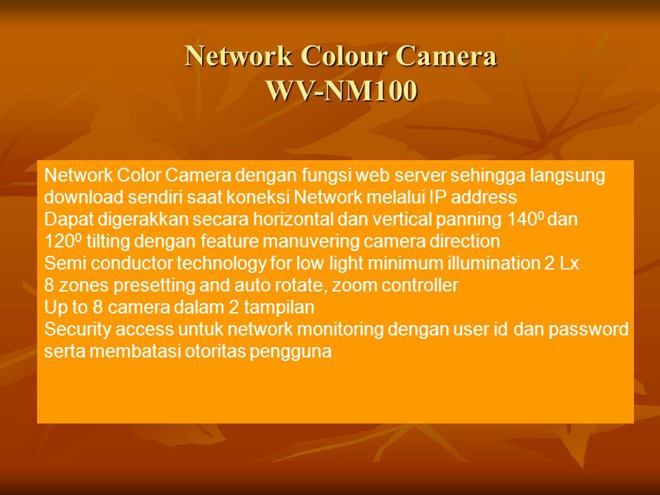 Network Colour Camera WV-NM100 Network Color Camera dengan fungsi web server sehingga langsung download sendiri saat koneksi Network melalui IP addres