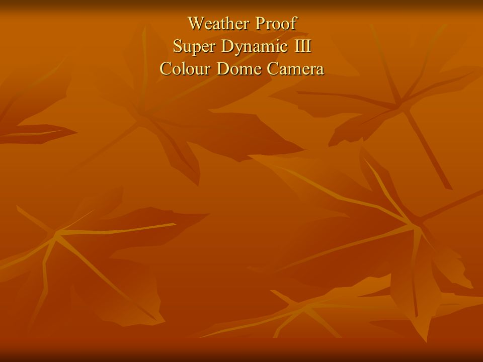 Weather Proof Super Dynamic III Colour Dome Camera