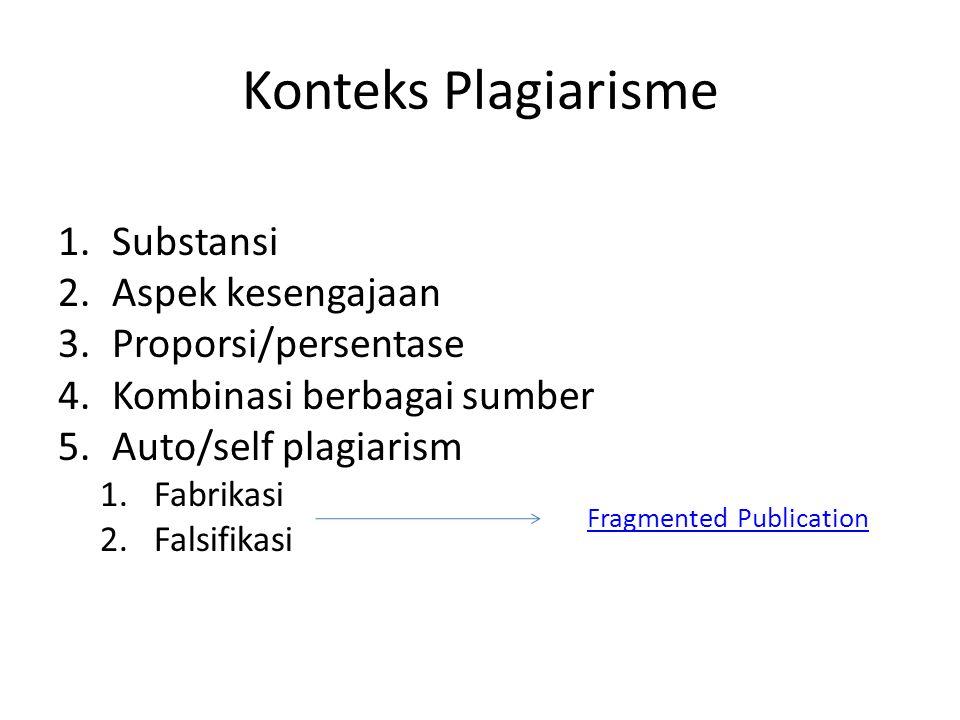Konteks Plagiarisme 1.Substansi 2.Aspek kesengajaan 3.Proporsi/persentase 4.Kombinasi berbagai sumber 5.Auto/self plagiarism 1.Fabrikasi 2.Falsifikasi