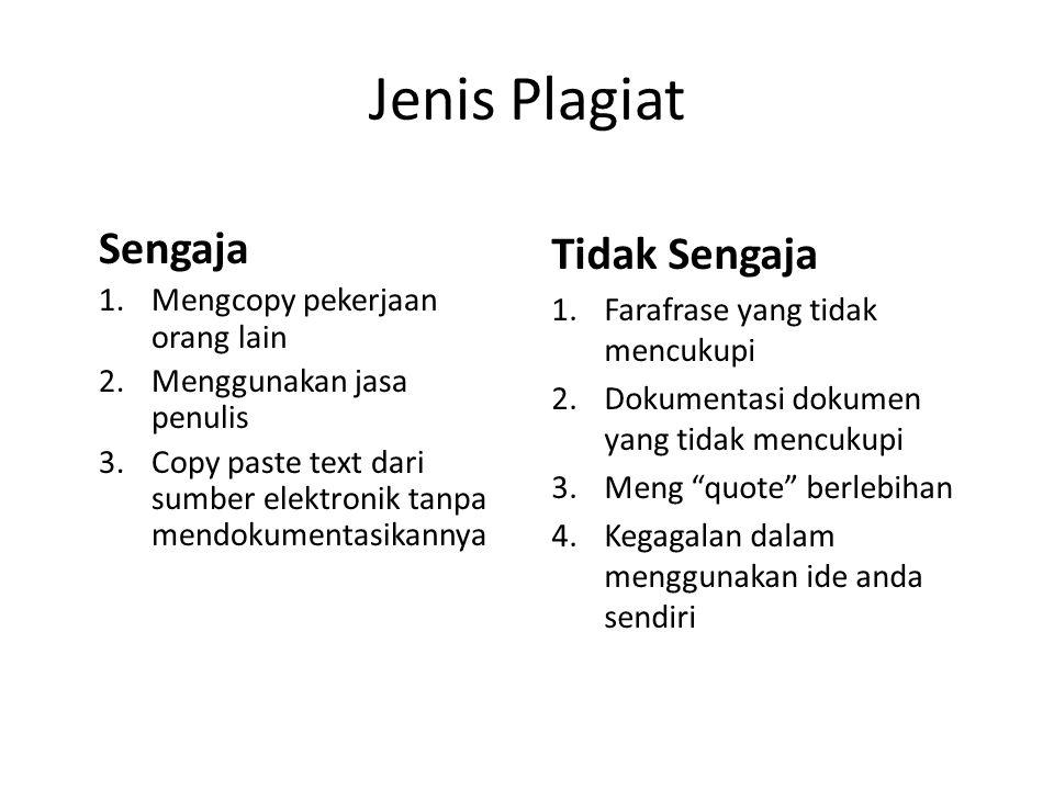 Jenis Plagiat Sengaja 1.Mengcopy pekerjaan orang lain 2.Menggunakan jasa penulis 3.Copy paste text dari sumber elektronik tanpa mendokumentasikannya T