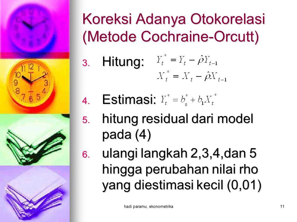 hadi paramu, ekonometrika11 3. Hitung: 4. Estimasi: 5. hitung residual dari model pada (4) 6. ulangi langkah 2,3,4,dan 5 hingga perubahan nilai rho ya