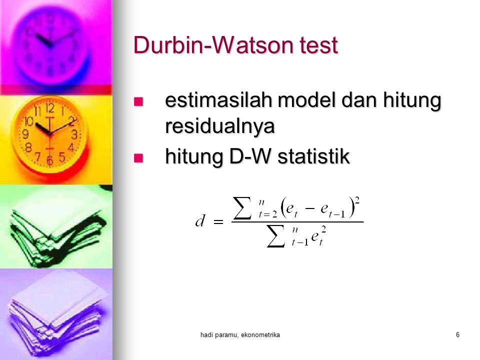 hadi paramu, ekonometrika6 Durbin-Watson test  estimasilah model dan hitung residualnya  hitung D-W statistik