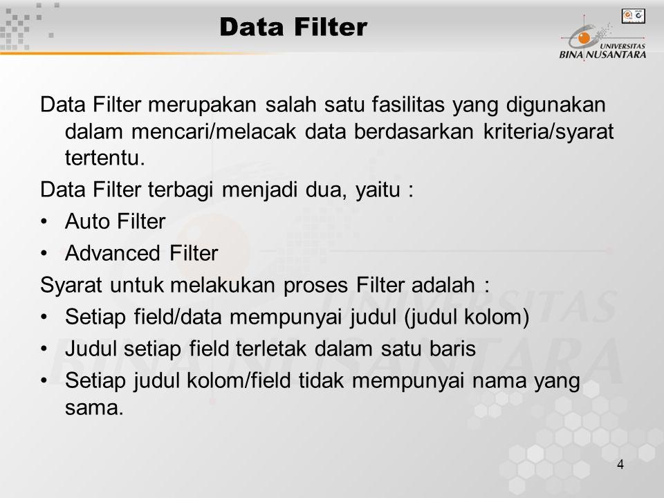 4 Data Filter Data Filter merupakan salah satu fasilitas yang digunakan dalam mencari/melacak data berdasarkan kriteria/syarat tertentu.
