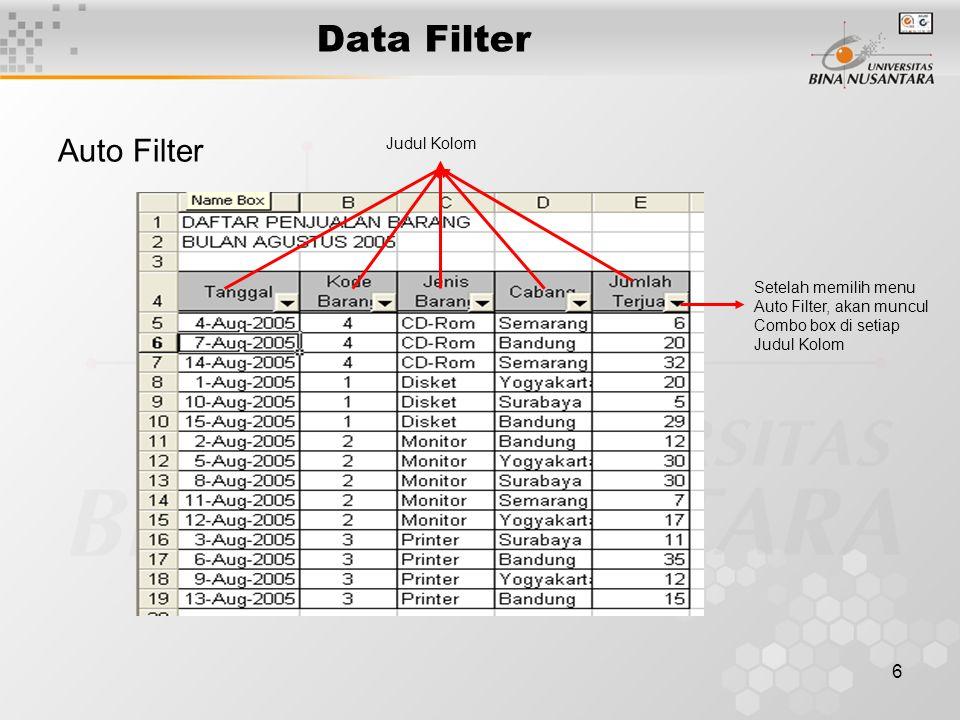 6 Data Filter Auto Filter Setelah memilih menu Auto Filter, akan muncul Combo box di setiap Judul Kolom