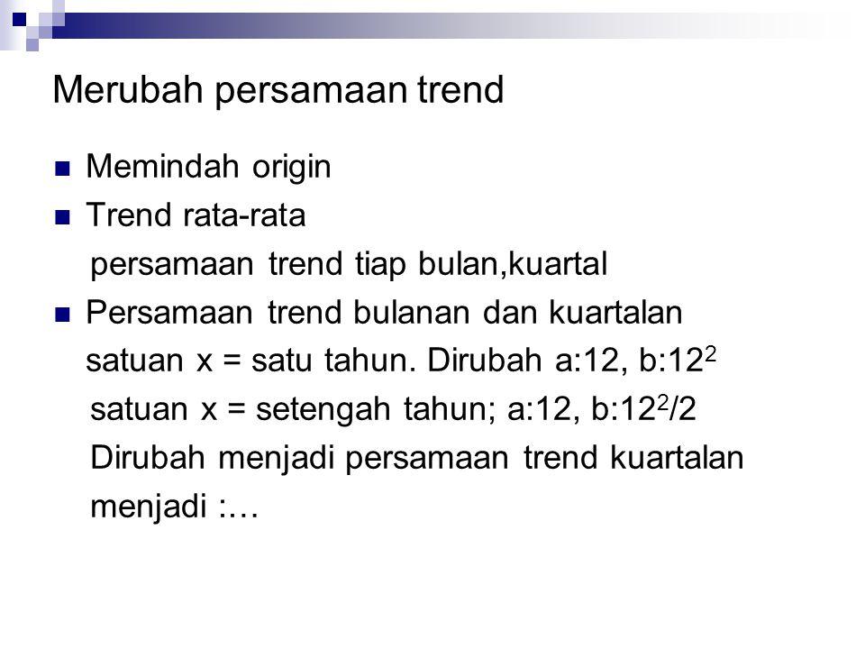 Merubah persamaan trend  Memindah origin  Trend rata-rata persamaan trend tiap bulan,kuartal  Persamaan trend bulanan dan kuartalan satuan x = satu