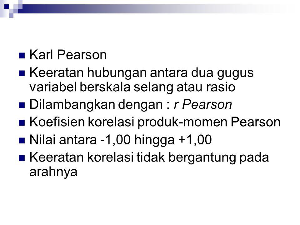  Karl Pearson  Keeratan hubungan antara dua gugus variabel berskala selang atau rasio  Dilambangkan dengan : r Pearson  Koefisien korelasi produk-