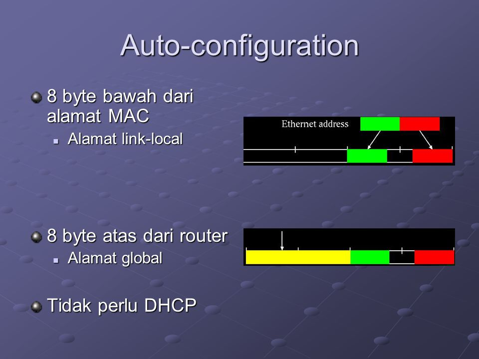 Auto-configuration 8 byte bawah dari alamat MAC  Alamat link-local 8 byte atas dari router  Alamat global Tidak perlu DHCP