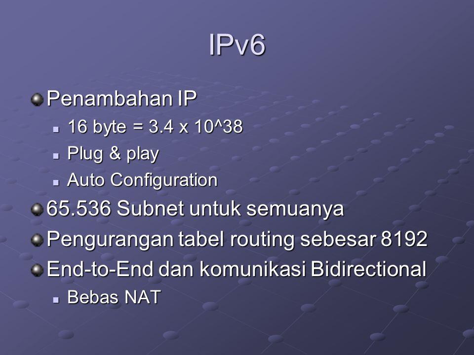 IPv6 Penambahan IP  16 byte = 3.4 x 10^38  Plug & play  Auto Configuration 65.536 Subnet untuk semuanya Pengurangan tabel routing sebesar 8192 End-to-End dan komunikasi Bidirectional  Bebas NAT