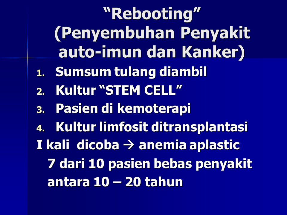 """Rebooting"" (Penyembuhan Penyakit auto-imun dan Kanker) 1. Sumsum tulang diambil 2. Kultur ""STEM CELL"" 3. Pasien di kemoterapi 4. Kultur limfosit ditr"