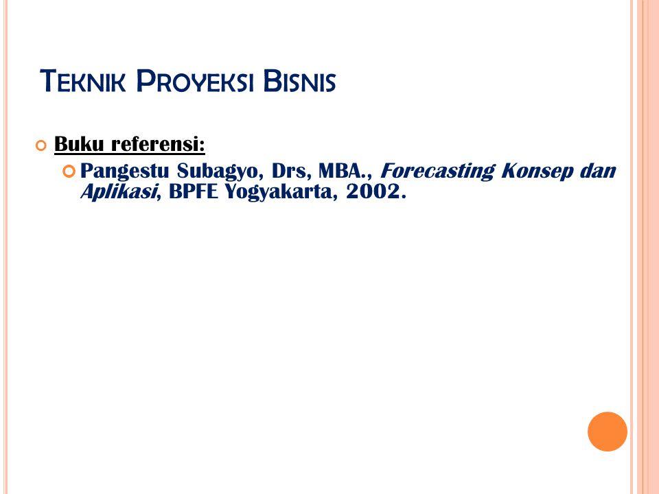 T EKNIK P ROYEKSI B ISNIS Buku referensi: Pangestu Subagyo, Drs, MBA., Forecasting Konsep dan Aplikasi, BPFE Yogyakarta, 2002.