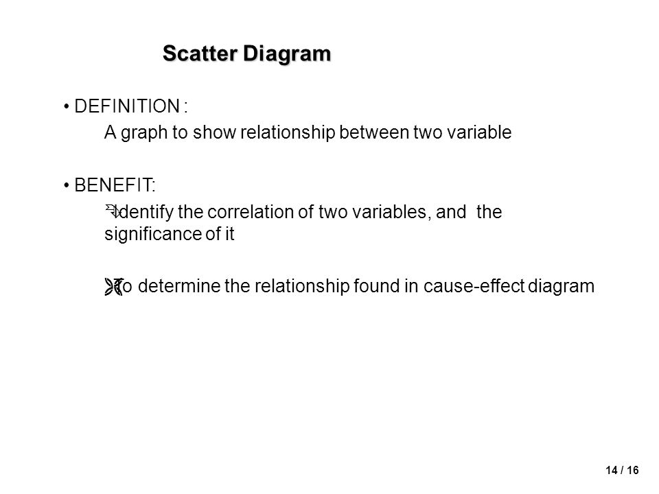 14 / 16 Scatter Diagram • DEFINITION : A graph to show relationship between two variable • BENEFIT: ÊIdentify the correlation of two variables, and the significance of it ËTo determine the relationship found in cause-effect diagram