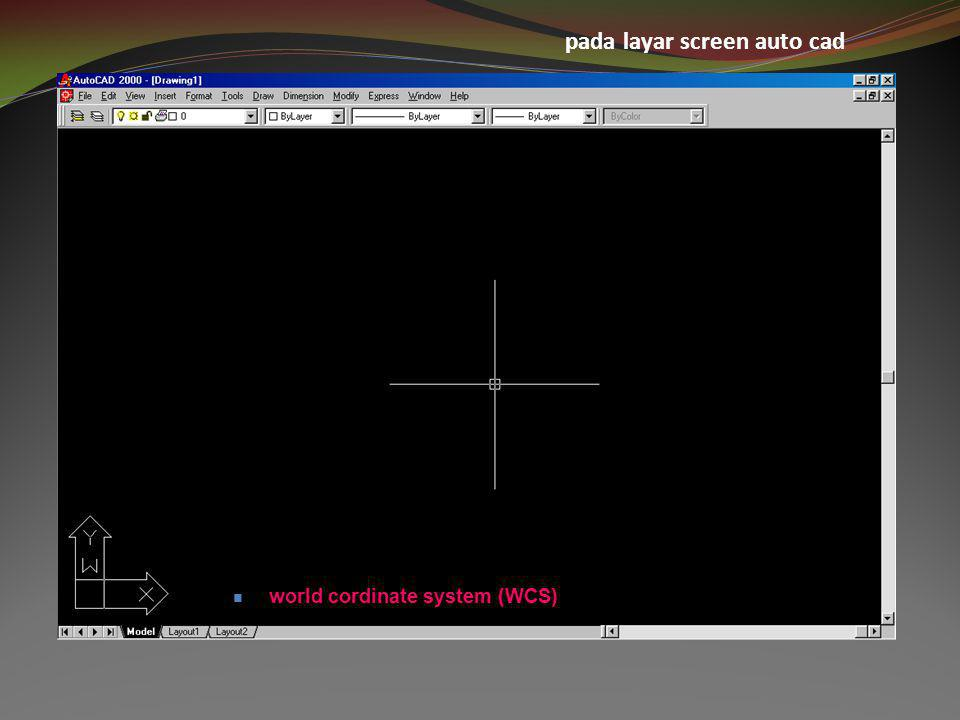 pada layar screen auto cad  world cordinate system (WCS)
