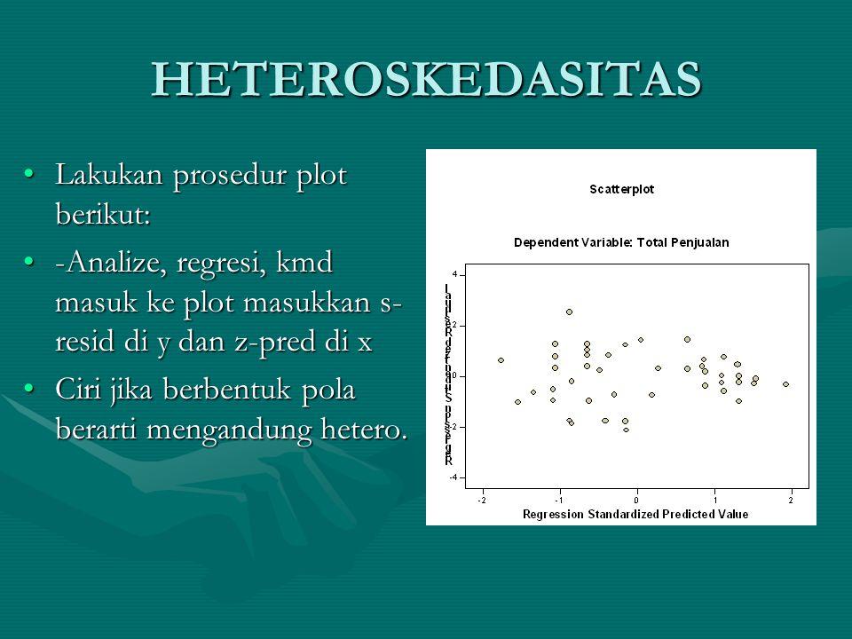 HETEROSKEDASITAS •Lakukan prosedur plot berikut: •-Analize, regresi, kmd masuk ke plot masukkan s- resid di y dan z-pred di x •Ciri jika berbentuk pola berarti mengandung hetero.