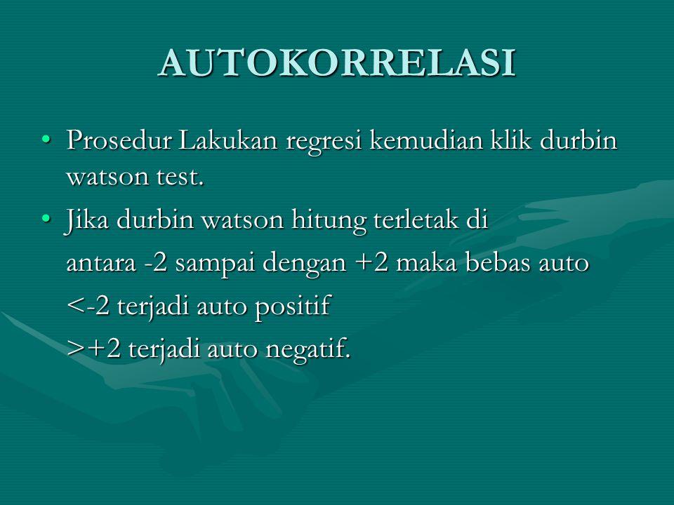 AUTOKORRELASI •Prosedur Lakukan regresi kemudian klik durbin watson test.