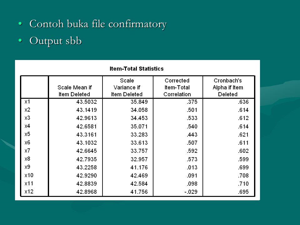 •Contoh buka file confirmatory •Output sbb