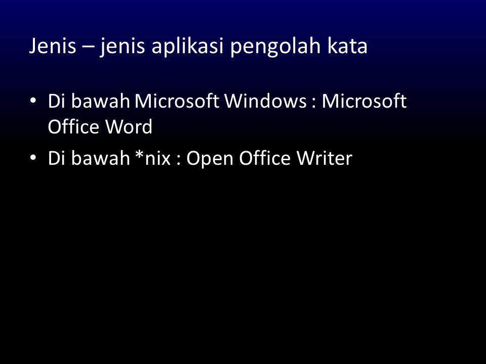 Beberapa fitur Microsoft Office Word 1.Membuat surat masal (Mail Merge) 2.Membagi halaman menjadi beberapa section 3.Membuat daftar isi secara otomatis 4.Equation editor 5.Autotext tabel dan thesaurus