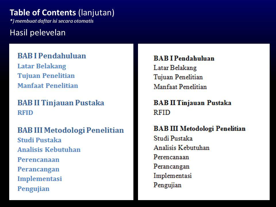 Table of Contents (lanjutan) *) membuat daftar isi secara otomatis Hasil pelevelan