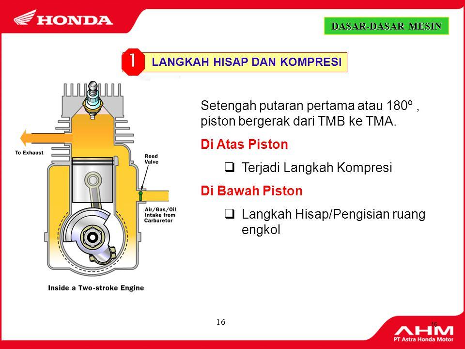 15 Langkah Isap Piston bergerak dari TMA ke TMB Langkah Kompresi Piston bergerak dari TMB ke TMA Langkah Usaha Piston bergerak dari TMA ke TMB Langkah