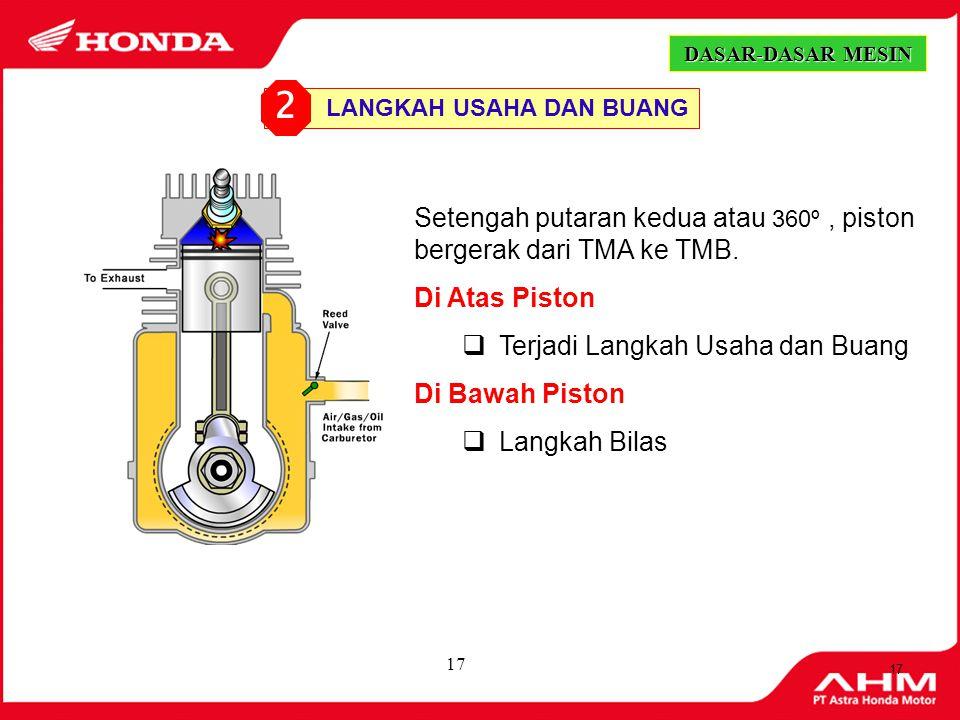 16 Setengah putaran pertama atau 180º, piston bergerak dari TMB ke TMA. Di Atas Piston  Terjadi Langkah Kompresi Di Bawah Piston  Langkah Hisap/Peng