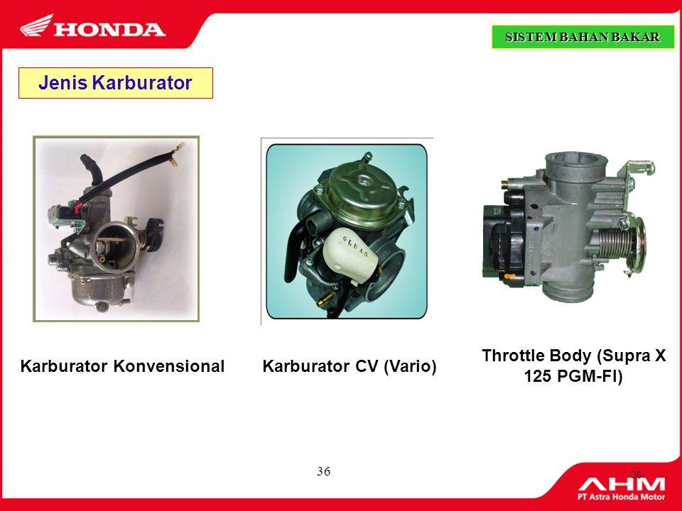 35 Prinsip Kerja Karburator Prinsip kerja Karburator berdasarkan perbedaan tekanan. Apabila udara mengalir melintasi venturi (daerah yang mengecil) ke