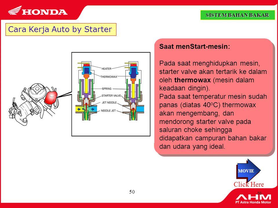 49 Cara Kerja ACV Membran ACV tertekan oleh pegas, pada saat piston valve menutup venturi,maka membran akan tertarik, sehingga suplai udara ke Slow Jet akan tertutup ( terputus ) SISTEM BAHAN BAKAR