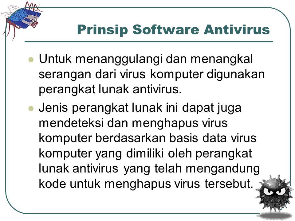 Prinsip Software Antivirus  Untuk menanggulangi dan menangkal serangan dari virus komputer digunakan perangkat lunak antivirus.  Jenis perangkat lun
