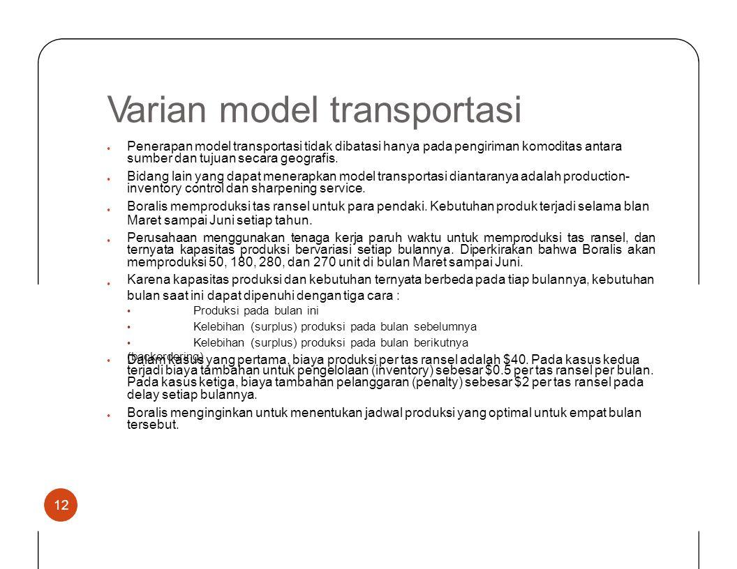 Varian model transportasi Penerapan model transportasi tidak dibatasi hanya pada pengiriman komoditas antara sumber dan tujuan secara geografis. • Bid