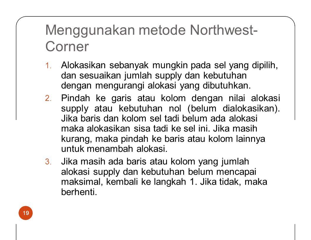 Menggunakan metode Northwest- Corner Alokasikan sebanyak mungkin pada sel yang dipilih, dan sesuaikan jumlah supply dan kebutuhan dengan mengurangi al
