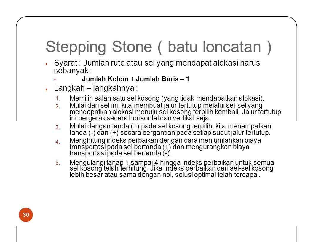 SteppingStone (batu loncatan ) Syarat : Jumlah rute atau sel yang mendapat alokasi harus sebanyak : • Jumlah Kolom + Jumlah Baris – 1 Langkah – langka