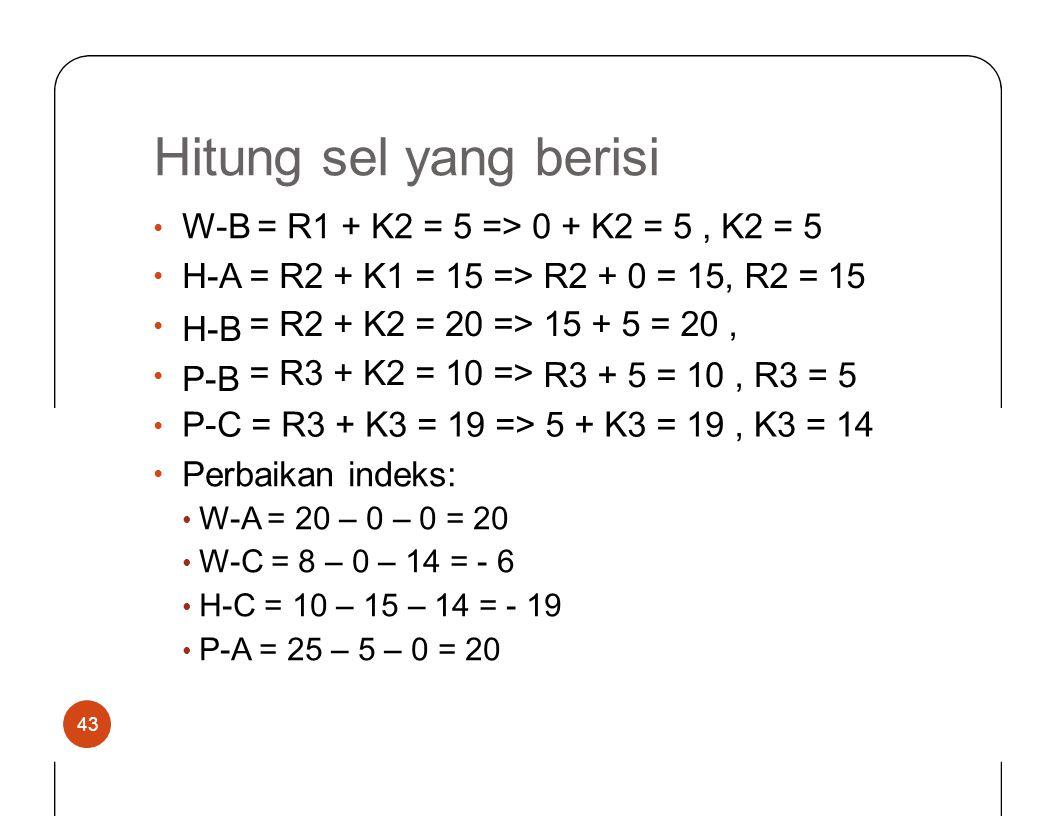 Hitungselyang berisi W-B = R1 + K2 = 5 => 0 + K2 = 5, K2 = 5 •••••••• H-A H-B P-B ====== R2 R3 ++++++ K1 K2 ====== 15 20 10 => R2 + 0 = 15, R2 = 15 15