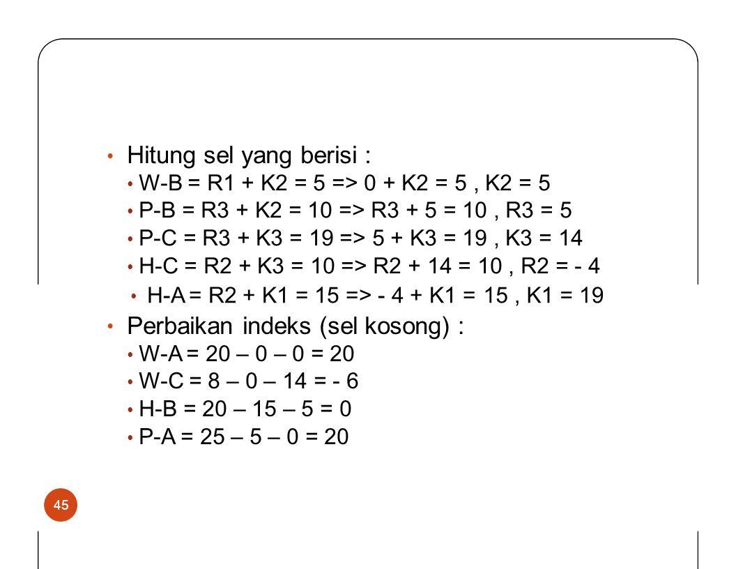 Hitung sel yang berisi : • W-B = R1 + K2 = 5 => 0 + K2 = 5, K2 = 5 • P-B = R3 + K2 = 10 => R3 + 5 = 10, R3 = 5 • P-C = R3 + K3 = 19 => 5 + K3 = 19, K3