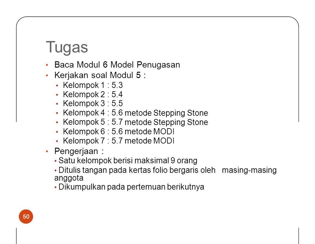 Tugas Baca Modul 6 Model Penugasan Kerjakan soal Modul 5 : •••• • Kelompok 1234512345 :::::::::: 5.35.45.55.65.75.35.45.55.65.7 metode Stepping Stone