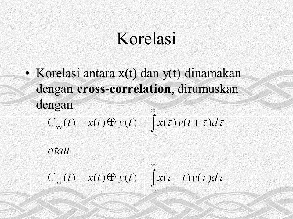 Korelasi •Korelasi antara x(t) dan y(t) dinamakan dengan cross-correlation, dirumuskan dengan