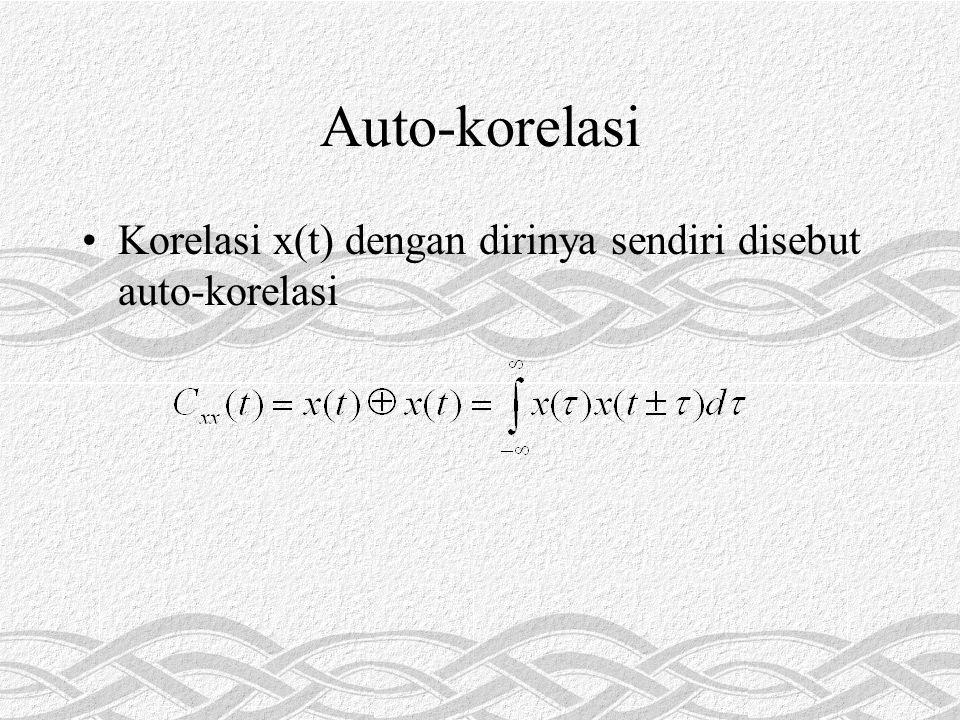 Auto-korelasi •Korelasi x(t) dengan dirinya sendiri disebut auto-korelasi