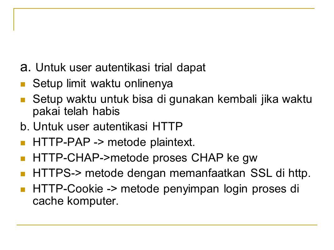 a. Untuk user autentikasi trial dapat  Setup limit waktu onlinenya  Setup waktu untuk bisa di gunakan kembali jika waktu pakai telah habis b. Untuk