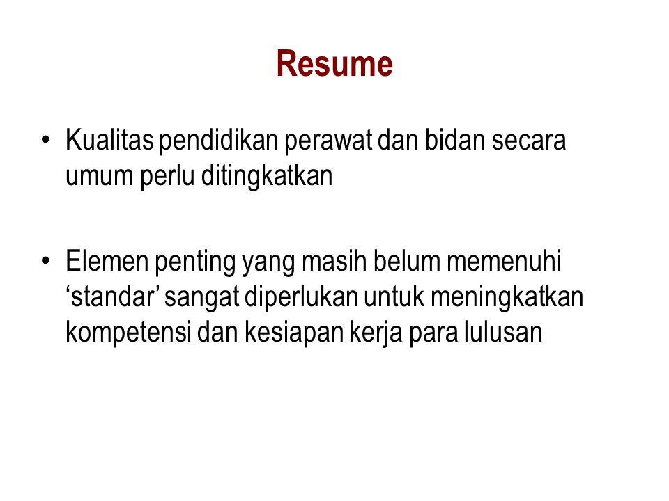 Resume • Kualitas pendidikan perawat dan bidan secara umum perlu ditingkatkan • Elemen penting yang masih belum memenuhi 'standar' sangat diperlukan u
