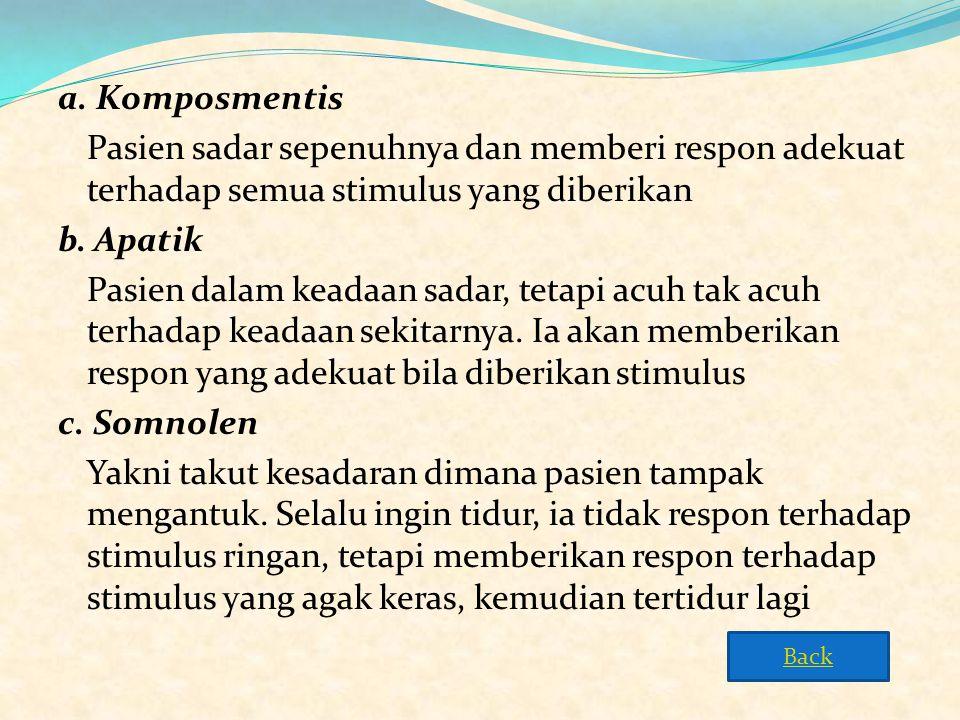 a. Komposmentis Pasien sadar sepenuhnya dan memberi respon adekuat terhadap semua stimulus yang diberikan b. Apatik Pasien dalam keadaan sadar, tetapi