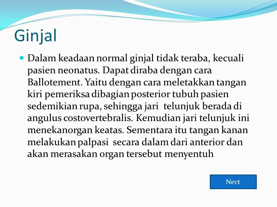 Ginjal  Dalam keadaan normal ginjal tidak teraba, kecuali pasien neonatus. Dapat diraba dengan cara Ballotement. Yaitu dengan cara meletakkan tangan