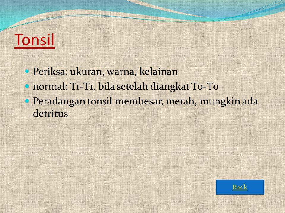 Tonsil  Periksa: ukuran, warna, kelainan  normal: T1-T1, bila setelah diangkat T0-T0  Peradangan tonsil membesar, merah, mungkin ada detritus Back